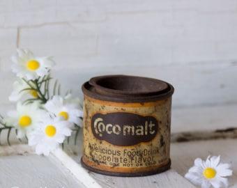 Rare Vintage échantillon publicitaire canette Cocomalt - boisson au chocolat - des années 1940 - fontaine à Soda - collection échantillon marqué épicerie générale
