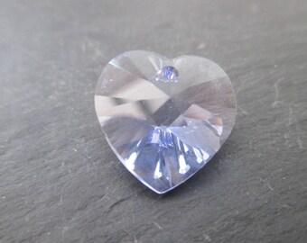 1 heart pendant Crystal Swarovski Provence Lavender 18 mm