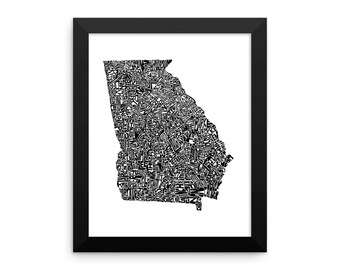 Georgia typography map art FRAMED print customizable state poster wedding engagement graduation gift anniversary personalized wall decor