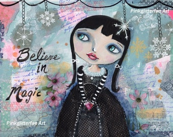 Big eyed girl painting, Whimsical art,  Children's art, Home decor, 8 x 10 print, Winter, Snow,