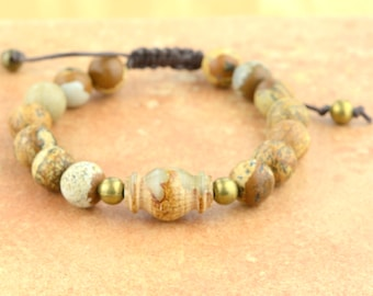 Mala Bracelet Jade & Jasper Adjustable