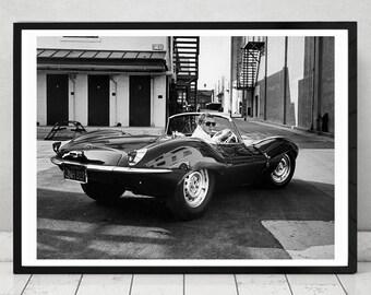 Steve McQueen Jaguar, Home Decor, prints , iconic Actor, Vintage Photography, gift for him