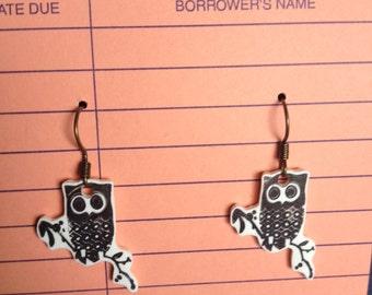 Owl on Branch Earrings