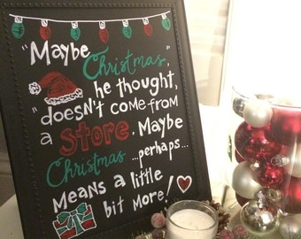 Handmade Chalkboard The Grinch Christmas Sign