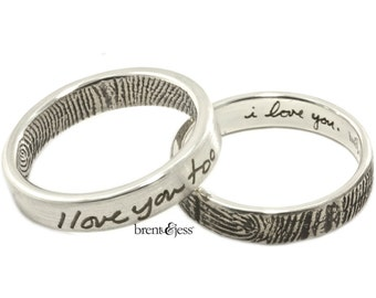 I love you...I love you too set of two narrow fingerprint wedding rings