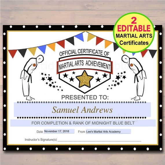 Editable Martial Arts Certificates Instant Download Karate