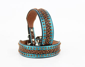MadcoW Western Style Metallic Turquoise Hand Tooled Canine Leather K9 Dog Collar Hand Made Fully Adjustable