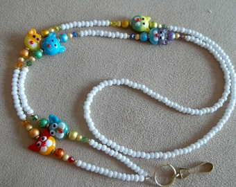 Cat Lover, Pet Lover, Lampwork Rainbow Glass Id Badge Holder Lanyard
