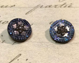 2 small Antique carved blue shell steel cut buttons 14 mm