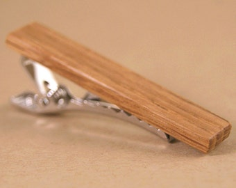 Tie Clip: Whiskey Barrel Oak Wood Tie Bar - Engraving Available!