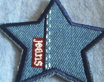Star jeans fusible badge