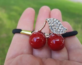Cherry tie, scrunchi, hair accessories, gift for any reason, Ready to ship