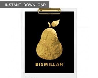 Instant Download! Islamic Bismillah Pear. Digital Wall Art Print, 8x10""
