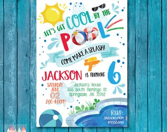 Pool Party Invitation. Pool Party Birthday Invitation. Summer Party Invitation. Cool By The Pool. Pool Party Invite. Summer Birthday. Boy