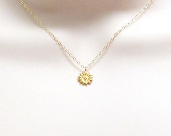 Flower necklace etsy dainty sunflower necklace tiny gold flower necklace delicate necklace petite jewelry small aloadofball Image collections