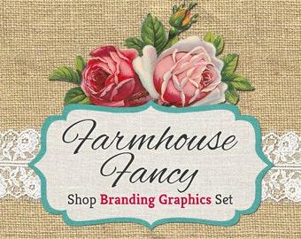 Vintage Burlap Shop Branding Banners, Avatar Icons, Business Card, Logo Label + More - 12 Premade Graphics Files - FARMHOUSE FANCY