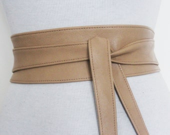 Tan Leather Obi Belt l Obi Corset Belt | Sash Tie Belt | Waist Belt | Corset Belt | Plus size belts