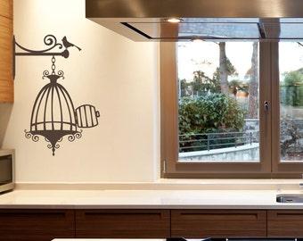 Opened Birdcage with Bird Vinyl Wall Decal for living room, nursery, kitchen, bedroom + more K632