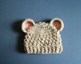 Crochet Girl Hat, Crochet With Ears Hat, Newborn Bear Hat, Baby girl Hat, Girl 0-3 months