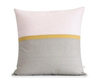 Blush Linen Horizon Line Pillow Cover with Yellow & Natural Linen Stripes (20x20) by JillianReneDecor, Minimal Home Decor, Pale Pink, Squash