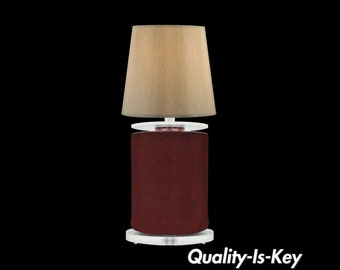 Vintage Mid Century Modern Red Ceramic Sculptural Clear Lucite Table Desk Lamp