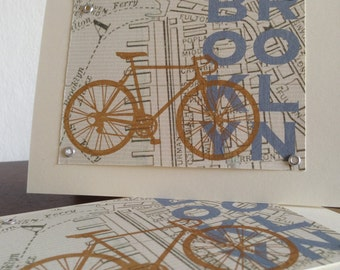 Brooklyn Map and Bike - 12-Pack Screen-Printed Greeting Cards