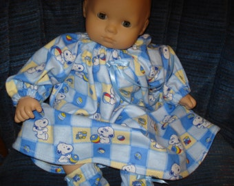 Flannel Long Nightgown and Slippers,  doll Baby or any 15 inch doll Baby Snoopy flannel