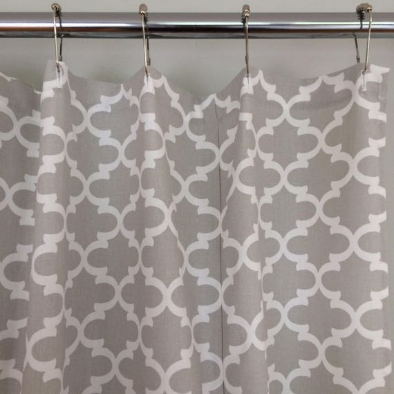 Gray Fabric Shower Curtain Trellis