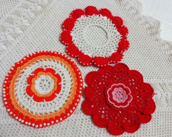 3 PCS Crocheted Dollies /Home Decor Table Dollies