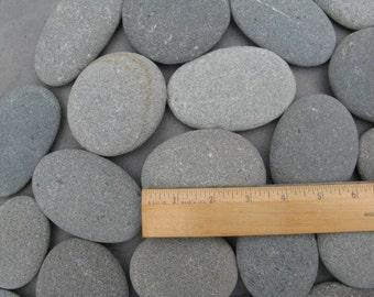 "40 Smooth Beach Stones  2 1/2""  to 3 1/2"",Large, Flat, Oval, Beach Rocks, Wishing Stones, Wedding Decor, Unique,  40 STONES"