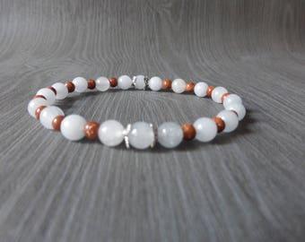 Beaded gem stone - Valentine gift Valentine's day - blue and Brown bracelet