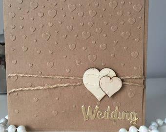 Rustic cascading heart wedding invitation