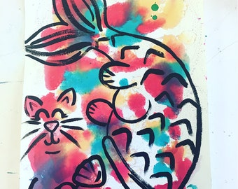 Mermaid Cat Print