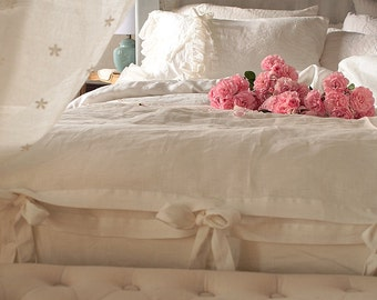 Pure Linen duvet cover 'Chloe' with ruffles and ties - linen bedding Queen King size or CUSTOM SIZES - pure white or off white