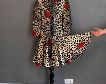 80s Party Dress | Red and Tan Dress | Cheetah Print Dress | Rose Dress | Drop Waist Dress | 80s Prom Dress | Small Dress S | Size 4 Dress