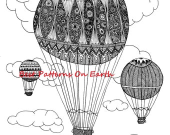 Hot Air Balloon Coloring Page - Zen Balloon - Zendoodle Hot Air Balloon - Adult Coloring Pages - Kids Coloring Book PDF