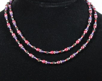 Sterling Silver  Amethyst and Cranberry Freshwater Pearl Necklace