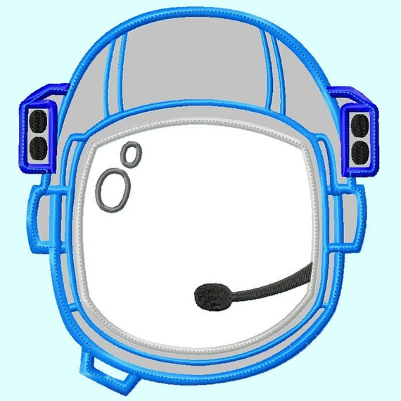 Astronaut Helmet Applique Embroidery Design 3 sizes Great