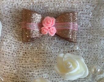 3inch rose gold handmade bow