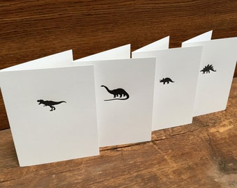 Dinosaur Cards - 4 pack, A2 sized Letterpress Cards