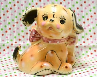 SALE - RARE Vintage Ceramic Dog Puppy Figurine Flower Pot from Japan 60s