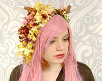 Sweet Fawn Headdress, Pink and Ivory, Antler Headpiece, Faun, Fairy, Costume Headpiece, Seelie, Lolita, Mori Kei, Deer Antlers,