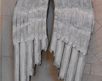 Angel Wings Wall Decor / Shabby Distressed Wooden Metal Angel Wings / Home Decor / Grey Angel Wings / Shabby Wall Decor / Wings