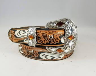 Womens Western Leather Belt - Womens Western Belt - Womens Leather Belt - Painted Leather Belt - Cowgirl Belt - Bling Belt - Belt for Women