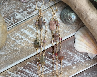 Fun quartz gemstone long dangle earrings.