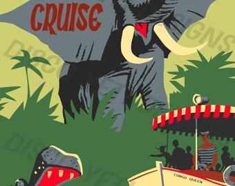 Vintage Disney World WDW Jungle Cruise Poster