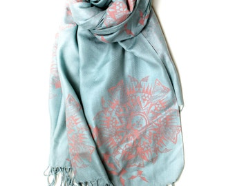 Silk Blend Native Bats Hand-Printed Scarf Blue/Rose