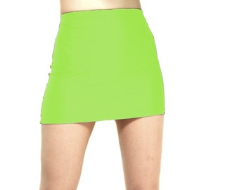 High waisted shiny spandex mini skirt neon green
