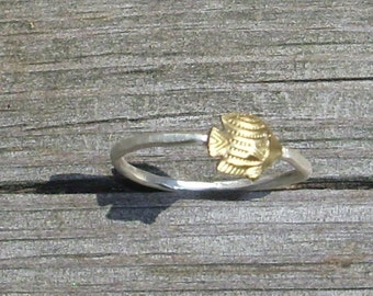 Little Fish- Sterling Silver and Brass -Stacking Ring