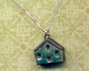 Rustic Turquoise House Necklace, Sterling Silver Unique Clay House Necklace, Little Cottage Sterling Necklace, Home sweet home by annaart72